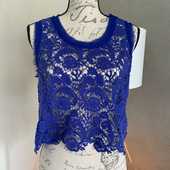 Rebellious One Tops - Blue lace crop top size small
